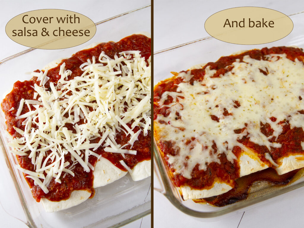 how to make enchiladas: cover tortillas with salsa and cheese, and bake.