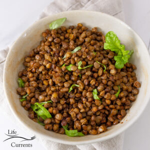 square crop of cooked lentils in a white bowl garnished with fresh herbs.