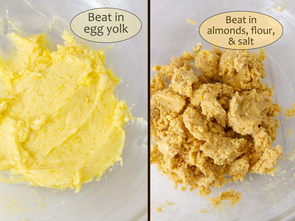 How to make Lemon Cream Pie, process shots: add in egg yolk, nuts, flour, and salt.