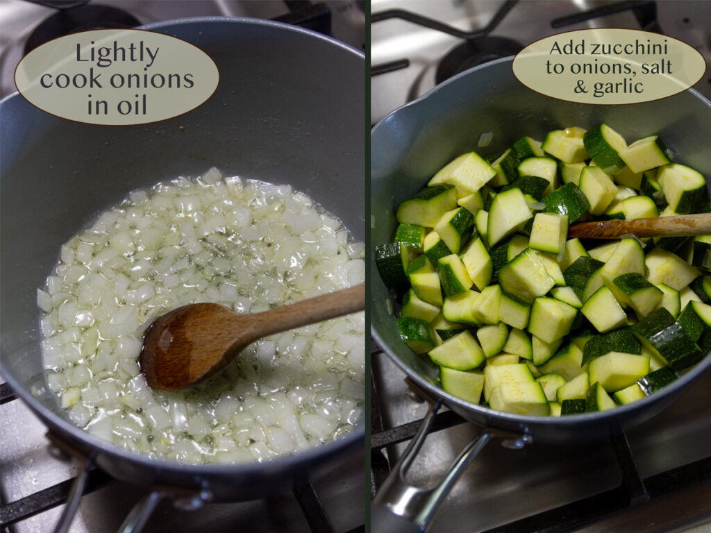 making zucchini soup, cooking onions, and cooking zucchini.