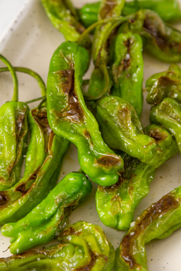 close up on Shishito Peppers on a plate.