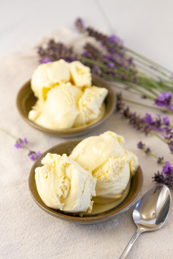 two bowls of ice cream with a spoon and flowers.