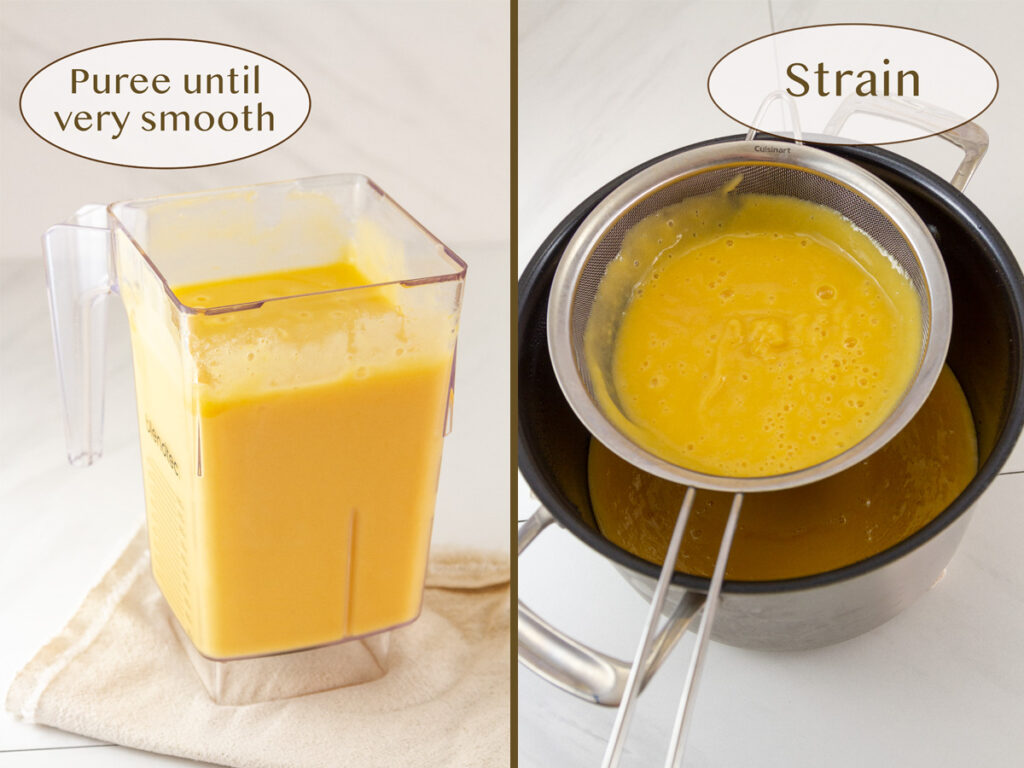 how to make fruit butter, puree and strain the peaches.