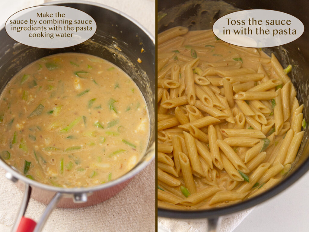 make the sauce and cook the pasta, toss the sauce onto the pasta.