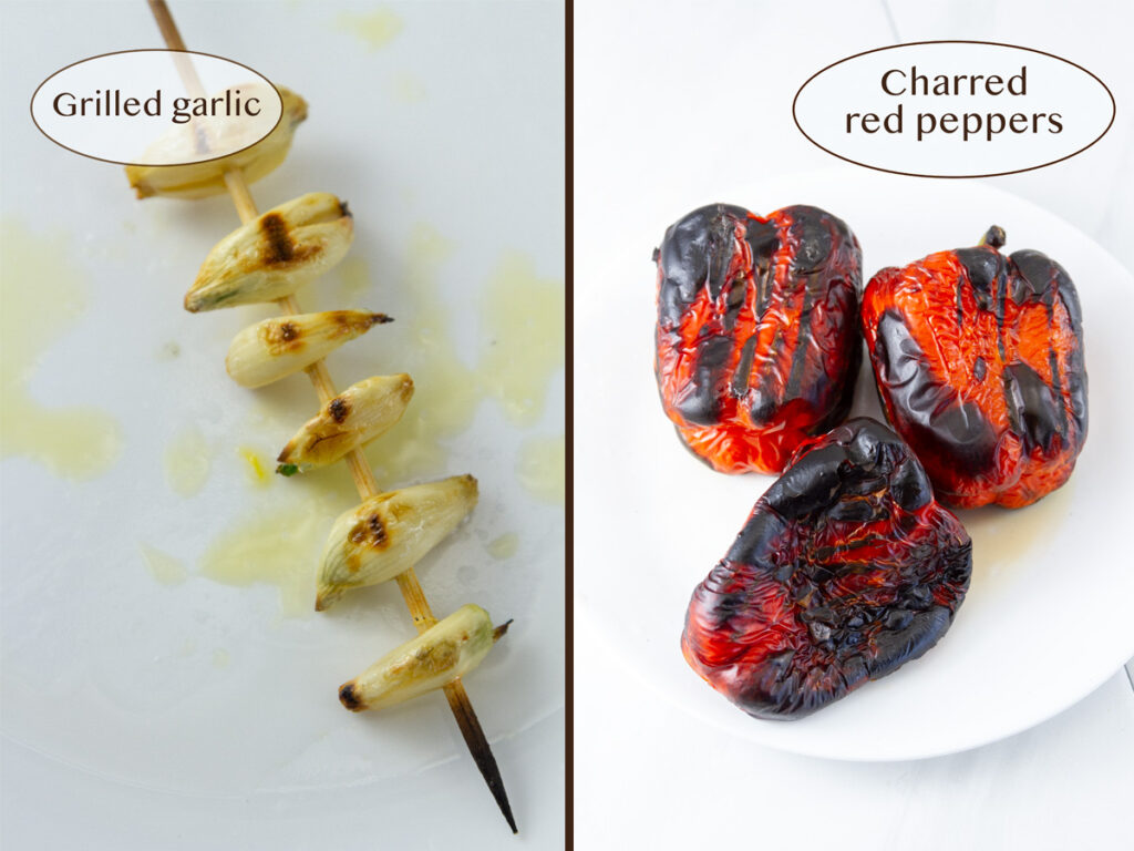 grilled garlic and peppers