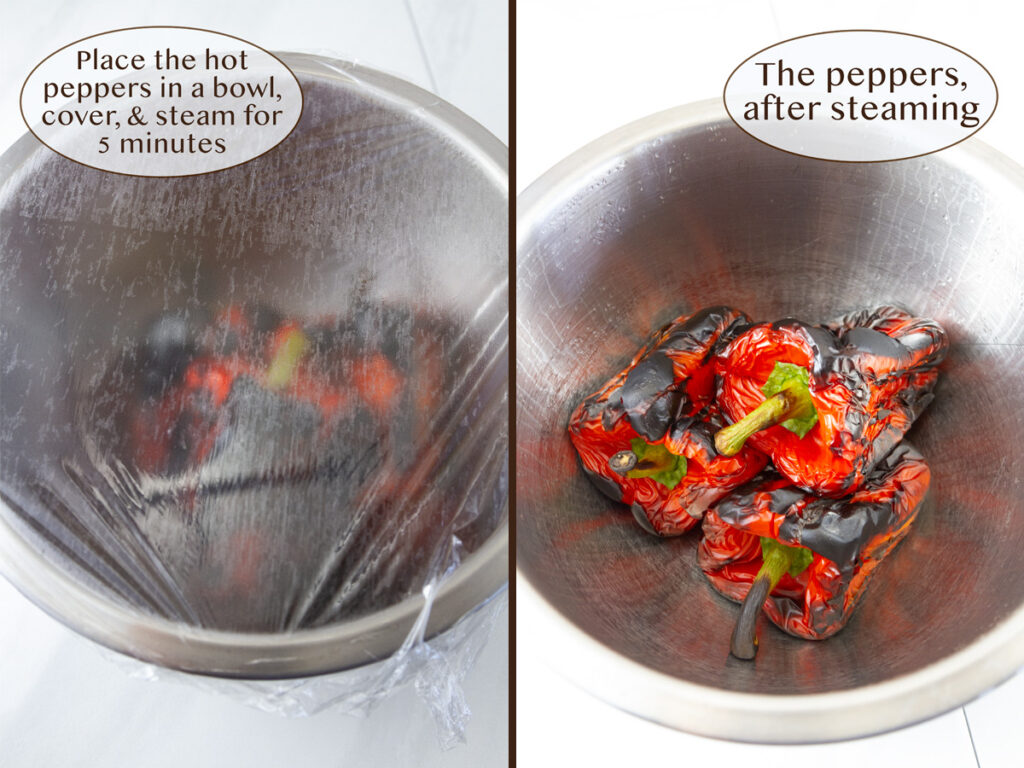 place the peppers in a covered bowl and steam.