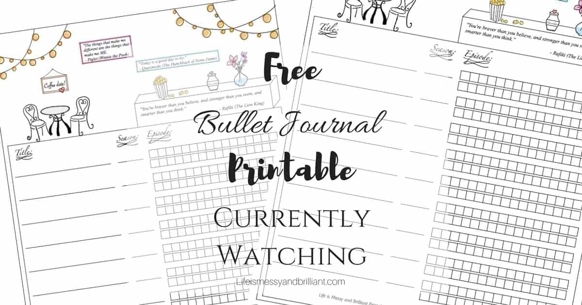 Free Currently Watching Bullet Journal Printable