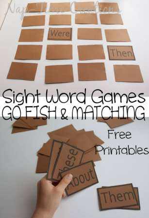 Sight Word Games   Life Sew Savory sight word Games  One set of Printable game cards   two games from Nap