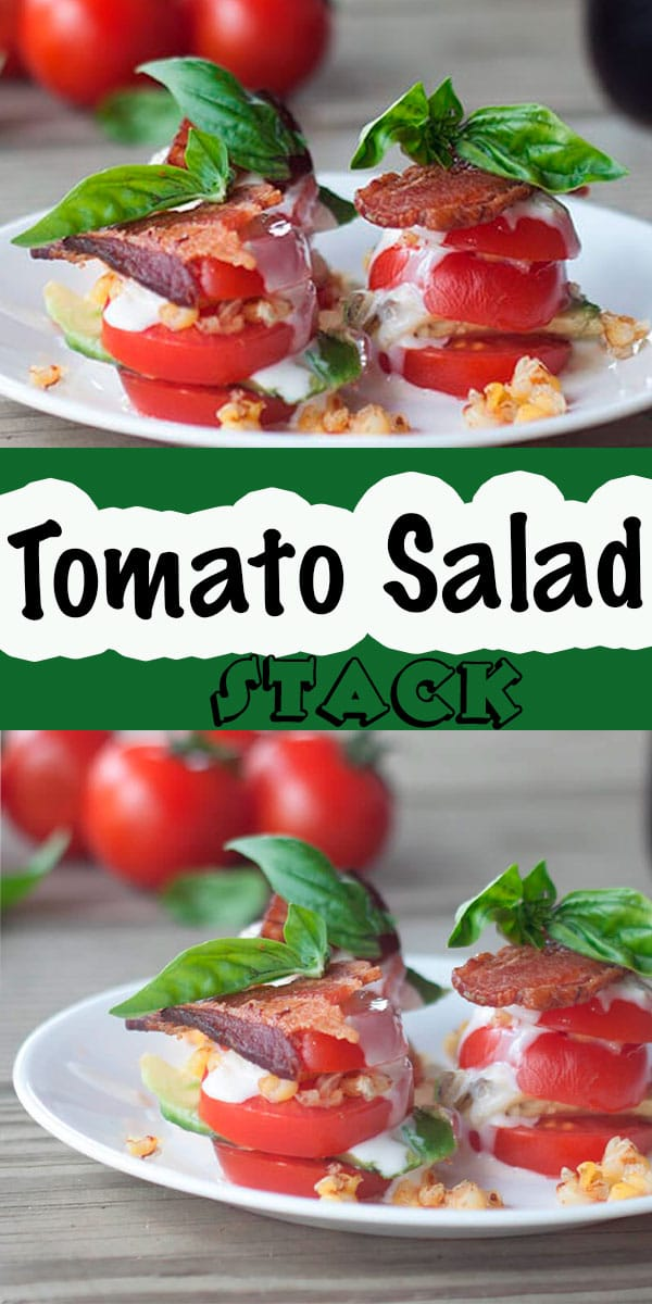 This tomato salad stack is beautiful and tasty. A gorgeous tomato salad with a stack of sliced and flavorful ingredients in each layer. Corn, bacon, dressing and basil make this a summer salad you don't want to miss. Add avocado for even more tasty flavors.