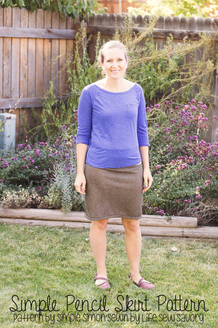simple pencil skirt pattern by Simple Simon sewn by Life Sew Savory