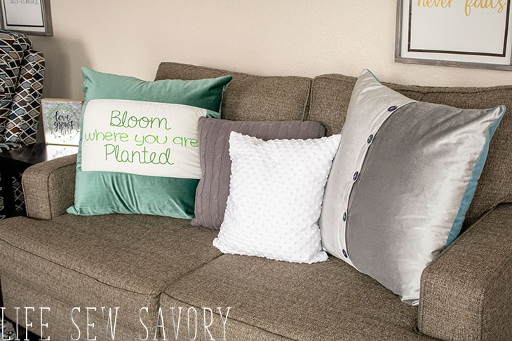 button back pillow cases and pre-printed fabric panels