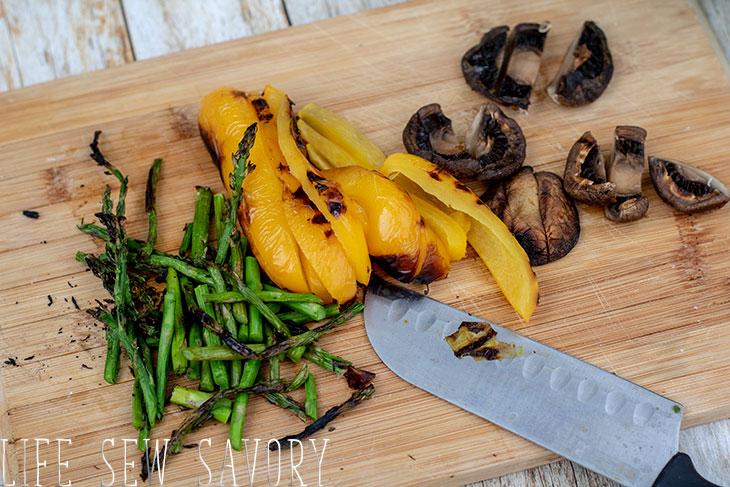sliced grilled veggies