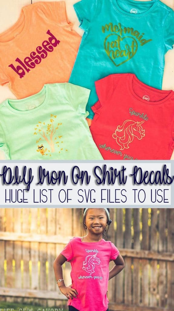 DIY iron on shirt decals for girls with svg file downloads huge list of cut files from Life Sew Savory