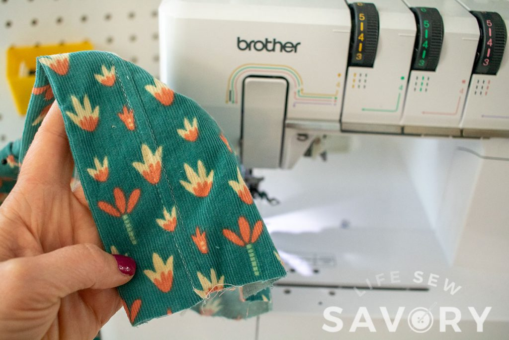top stitch facing with serger