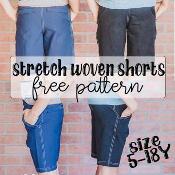 stretch woven shorts free pattern