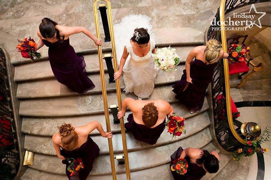 Bride Stairs Down Walking