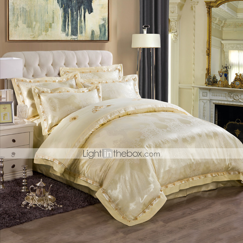 Light Yellow Luxury Silk Cotton Blend Duvet Cover Sets