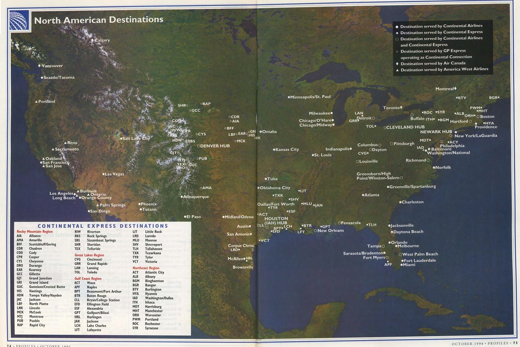 Continental Airlines North American destinations, October ...