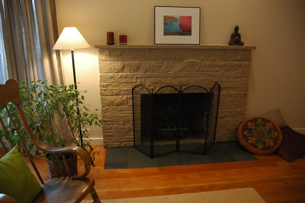 Zen Style Painted Stone Fireplace Makeover With Flat Bla