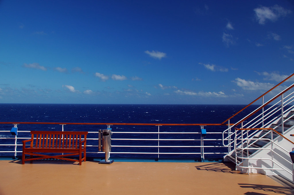 Scenic View Of Cruise Ship Deck And Ocean Scenic View Of