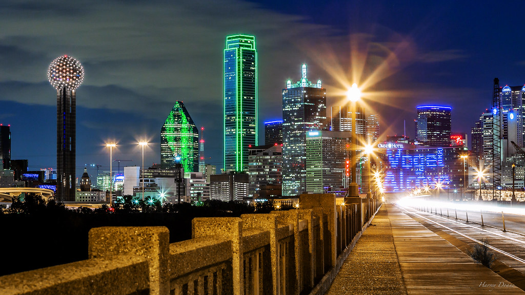 Dallas City Lights The Night Skyline Of Dallas Is