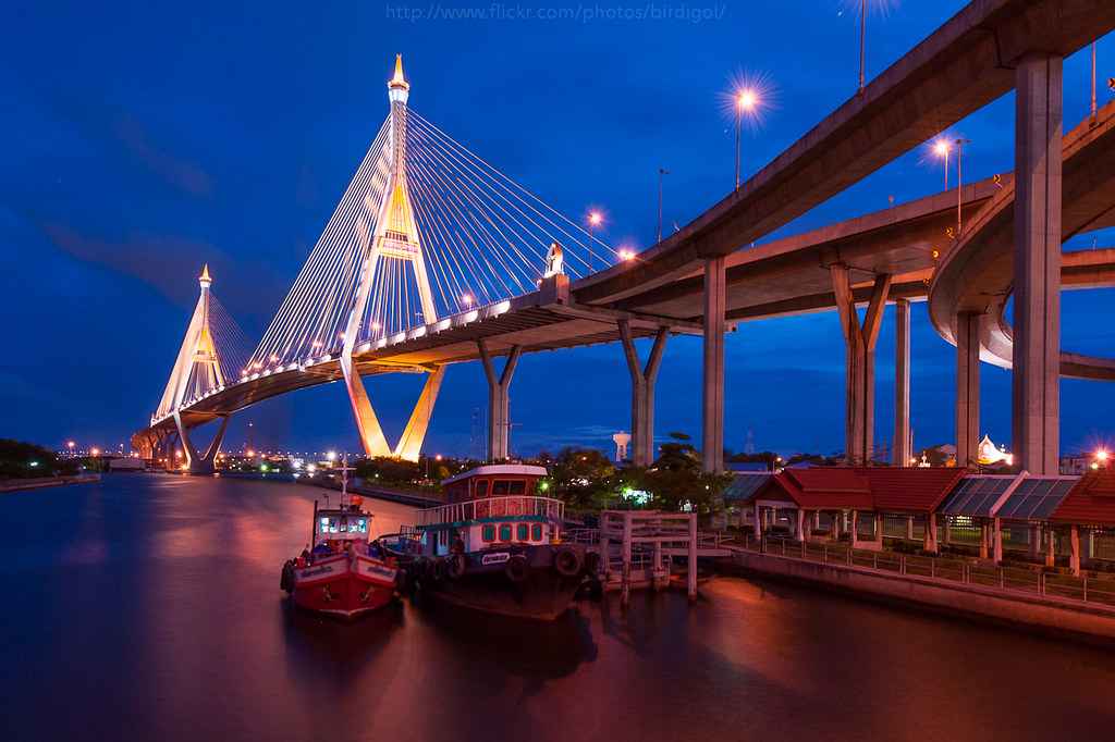 Bhumibol Bridge Thailand Also Known As The Industrial