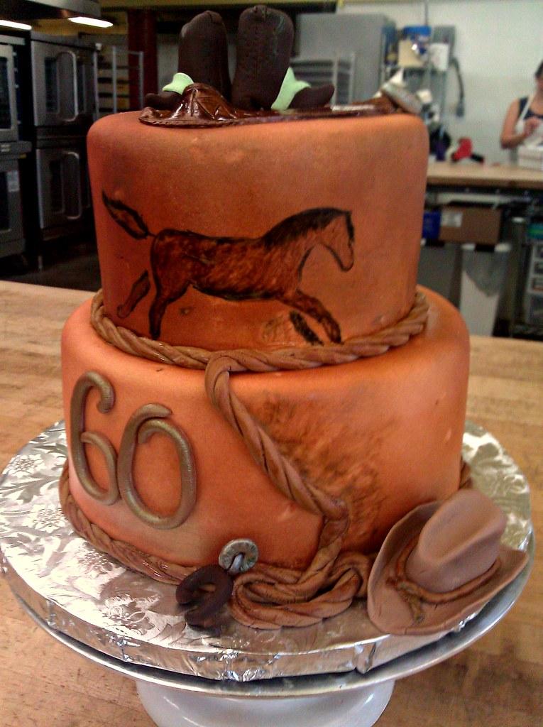 Western 60th Birthday Cake Faux Leather Finished Fondant
