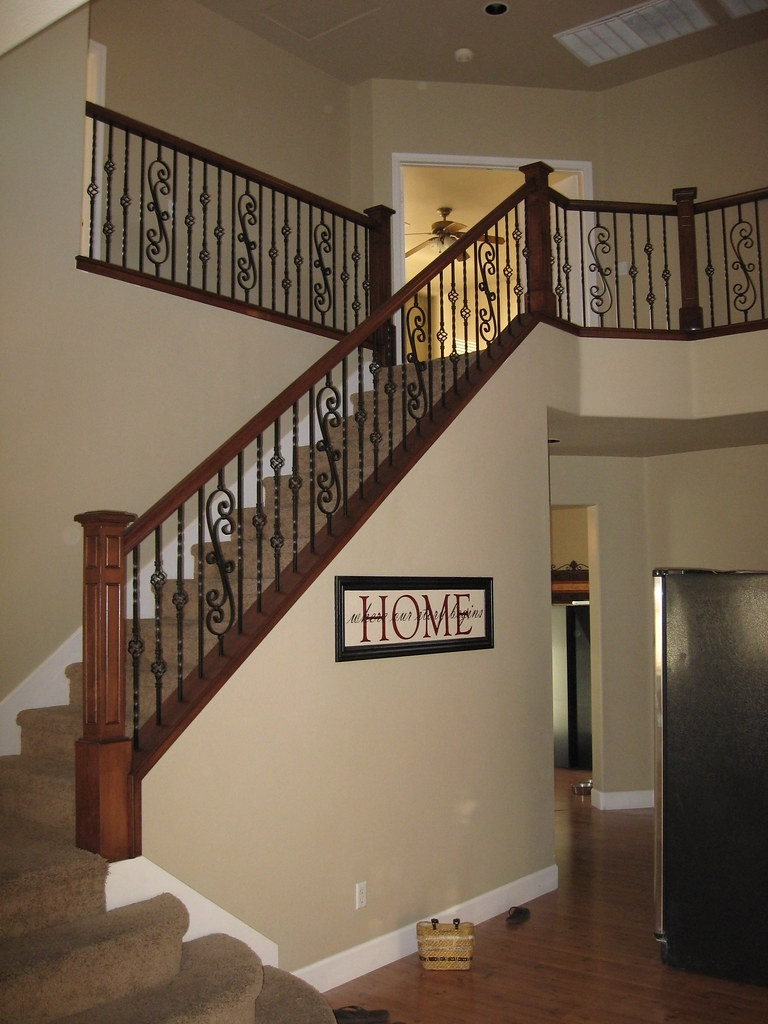 Maple Wood Railing With Box Newel And Scroll Panels Wrough… Flickr | Wrought Iron And Wood Railing | Iron Baluster | Rustic | Split Foyer | Horizontal | Banister