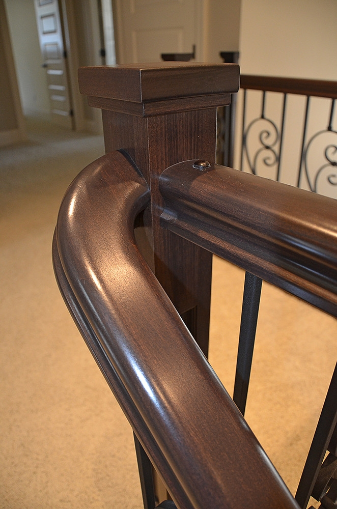 Staircase Installation Of Newel Post Stair Railing And La… Flickr   Attaching Handrail To Newel Post   Bolt   Fine Homebuilding   Stair Treads   Wood   Baluster