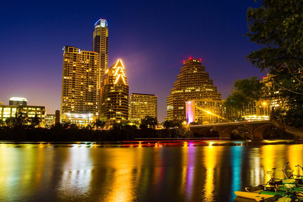 Austin City Lights Downtown Austin From The Hyatt
