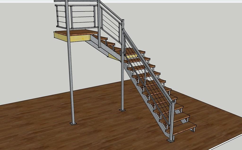 2 12 Sketchup Steel And Wood Staircase Sketchup Design Cu… Flickr   Steel And Wood Staircase Design   Inside   Outdoor   Detail   Wooden   Metal