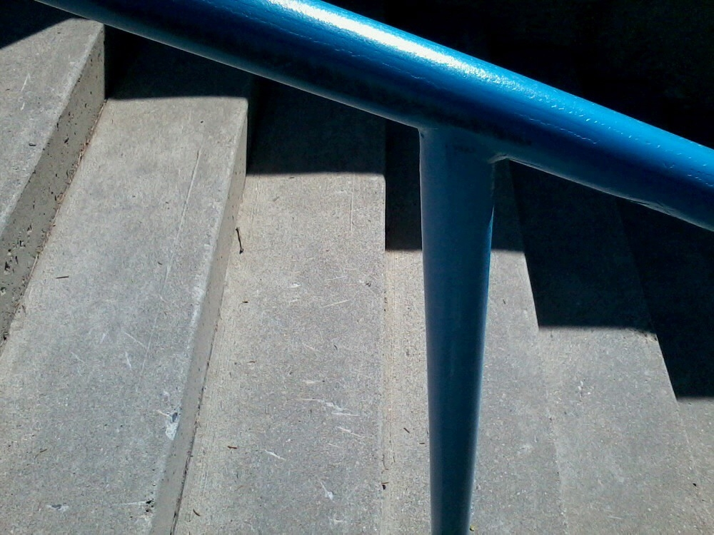 Blue Railing Concrete Steps And Shadows Cellphone Camer… Flickr | Railing For Concrete Steps | Stairwell | Retaining Wall | Concrete Slab Detail | Commercial | Safety