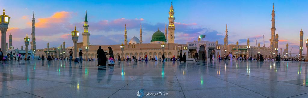 Masjid Al Nabawi Sunset Panorama Haram Al Madinah