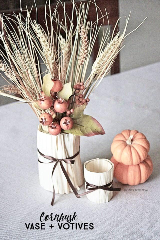 Festive Cornhusk Vase and Votives