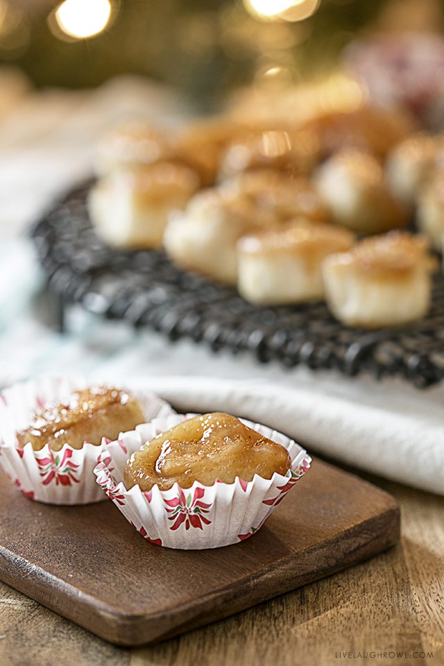 These Bite-Sized Cinnamon Buns require no yeast or kneading. Using crescent rolls, you'll have them ready to serve in minutes. Recipe at livelaughrowe.com