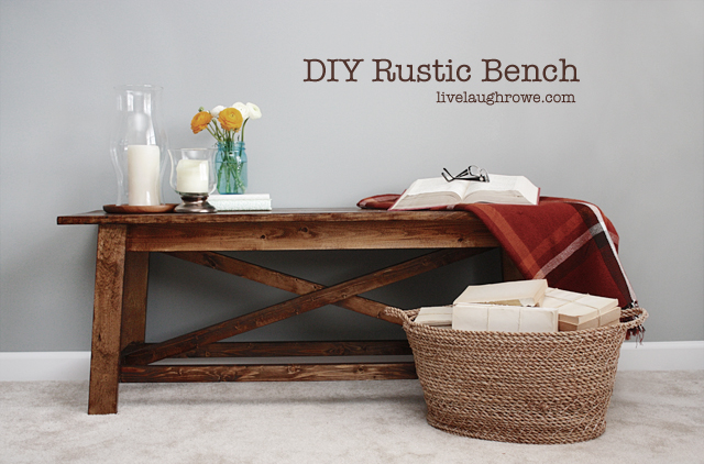 DIY Rustic Wood Bench with livelaughrowe.com