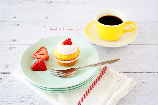 Delicious Strawberry Shortcake Cupcakes with livelaughrowe.com