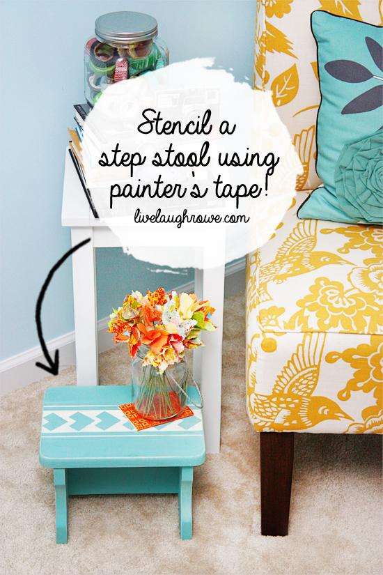 Stencil a step stool using ScotchBlue painter's tape with livelaughrowe.com