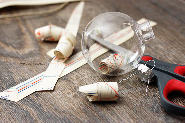 after curling paper strips, place them inside the ornament