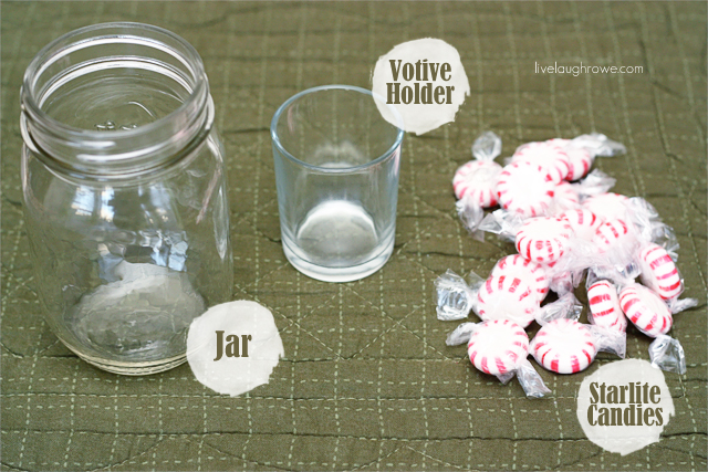 supplies needed for peppermint mason jar candle holder