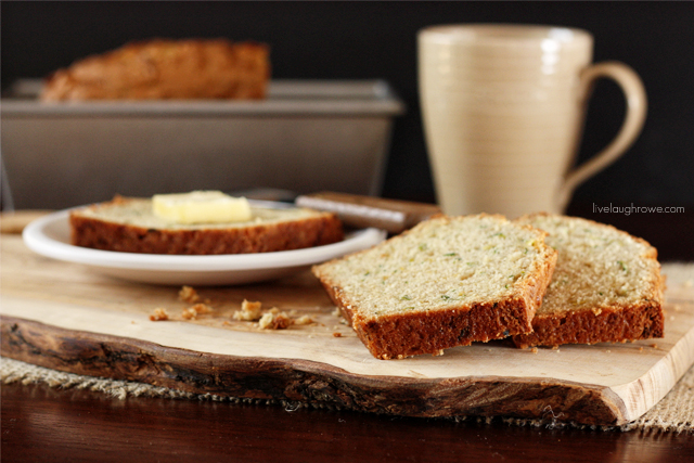 A delicious Zucchini Bread recipe with a hint of cinnamon over at livelaughrowe.com