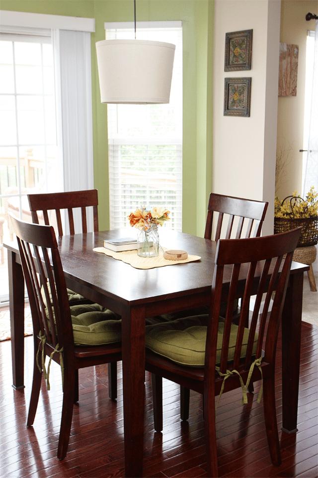 Breakfast Room with Fabric Flower Centerpiece