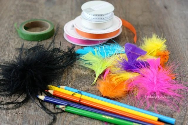 Supplies needed for Feather Topped Pencils. Great summer camp craft!