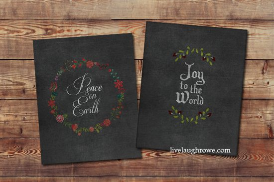 Chalkboard Christmas Printables with a pop of vintage color.  Add a little charm to your holiday decor with these printables from livelaughrowe.com