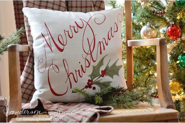 Learn how to paint a Christmas pillow in just a few steps. Tutorial from Anderson and Grant for www.livelaughrowe.com #diy