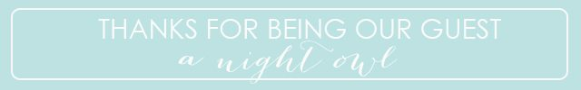 Thanks for being our guest A Night Owl Blog