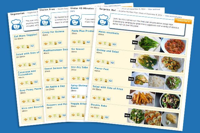 NEW Meal Plans from Cooking PlanIt! It just keeps getting easier... four plans to choose from: Vegan, Gluten Free, Under 40 Minutes and Surprise Me!