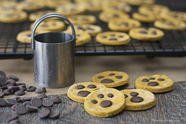 Love these! My furry friends couldn't get enough. Homemade Paw Print Dog Treats with melted carob chips and peanut butter too! www.livelaughrowe.com #dogtreats