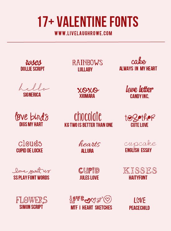 Snatch up these free and lovely Valentine Fonts from www.livelaughrowe.com