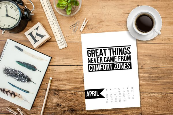 Free 5x7 Printable Calendar for April 2015 with inspirational quote!  www.livelaughrowe.com